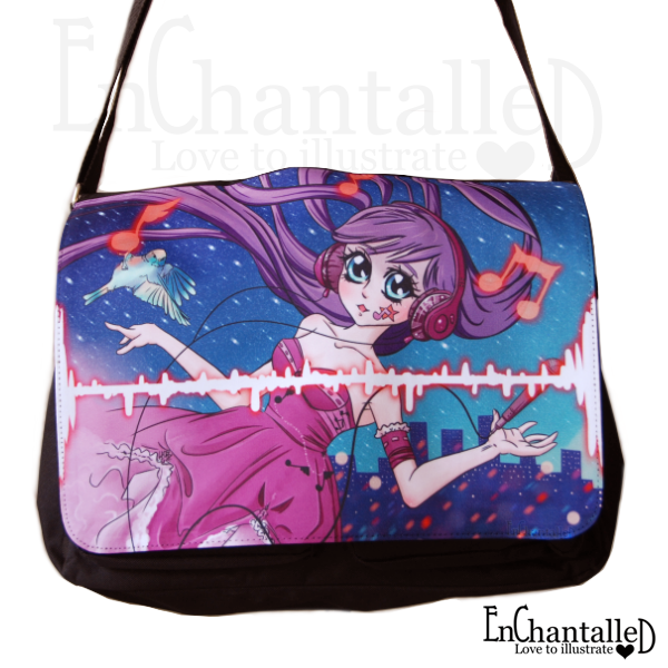 Nightcore manga anime tas schoudertas schooltas EnChantalled muziek girl meisje muzieknoten nacht zingen zangerres