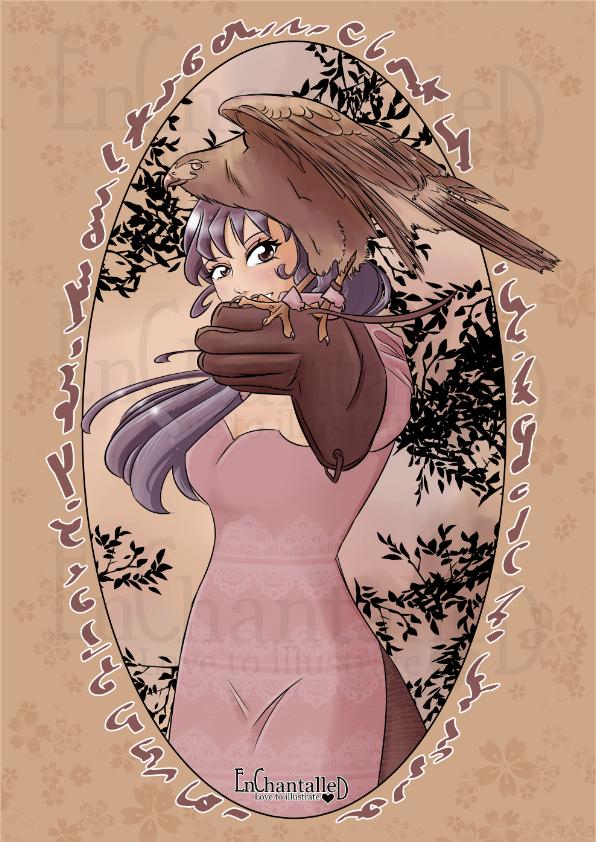 art print kunst schilderij manga valkanier havik jachtvogel avontuur EnChantalled