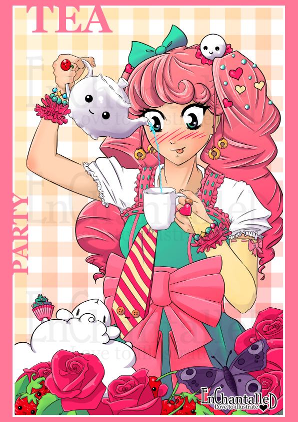 art print poster manga girl anime tea party roze meisjeskamer