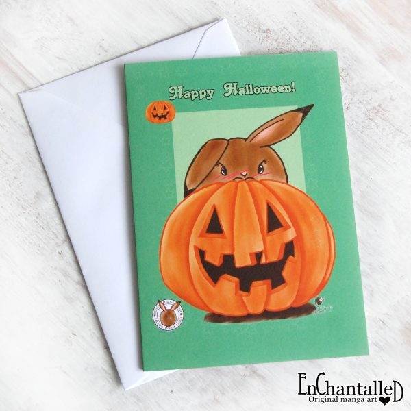 Wenskaart_Halloween_Mama Rond Konijn_greepy cute_EnChantalled