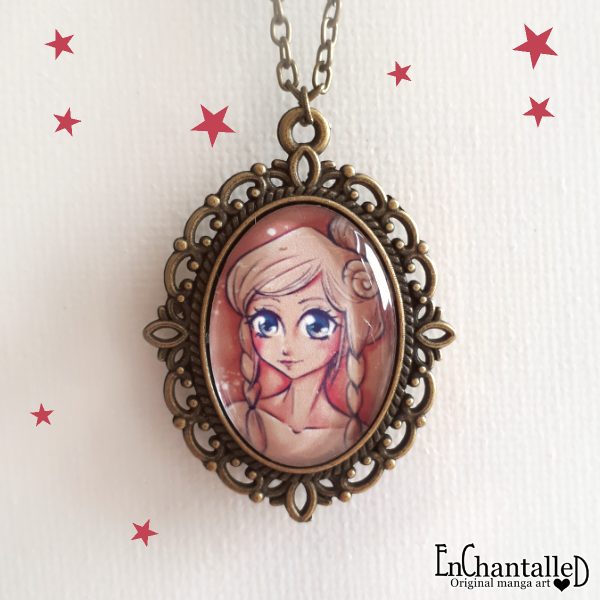 manga ketting_anime_sieraden_kettingen_enchantalled_hand made_brons_cabochon