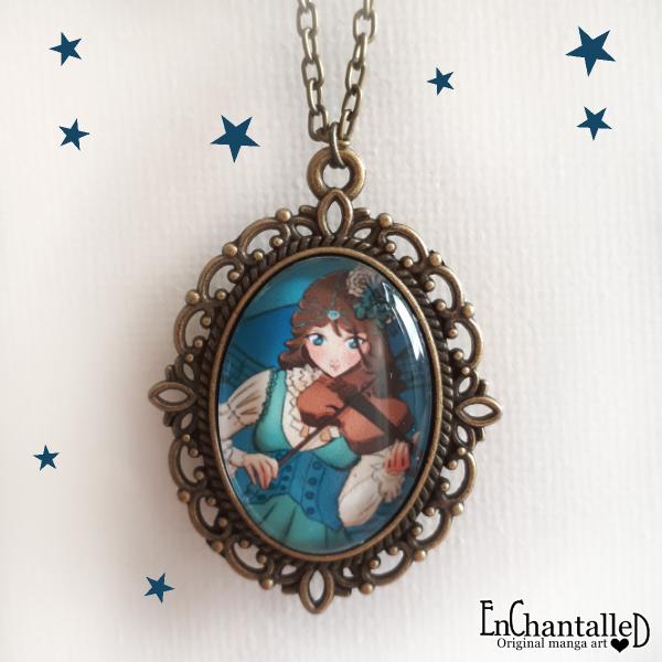 anime ketting manga brons blauw viool violist sieraden muziek