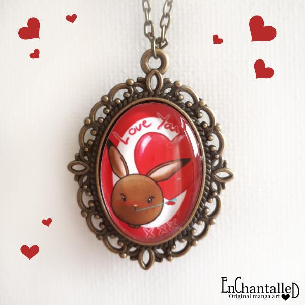 kawaii ketting, brons, Valentijn, valentine, love you, kettingen, sieraden, mama rond konijn