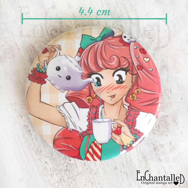 button, tea party, manga, anime, kawaii, zoet, roze, feest, EnChantalled, buttons