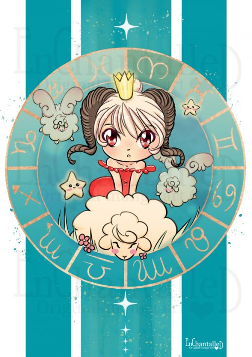 dierenriem, Ram, Aries, zodiak, Chibi, schattig, cute, manga, kawaii, art print, kunst, illustratie, EnChantalled