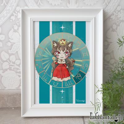 art print, leeuw, leo, sterrenbeeld, zodiak, schilderij, wanddecoratie, muurdecoratie