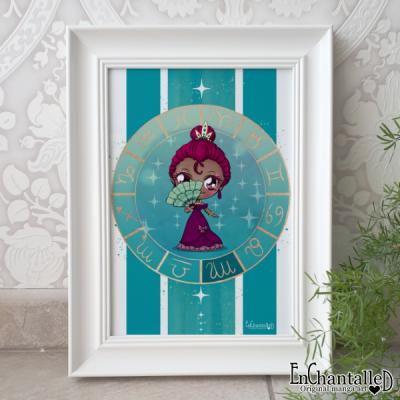 maagd, sterrenbeeld, virgo, zodiak, art print, schilderij, wanddecoratie, muurdecoratie, illustratie