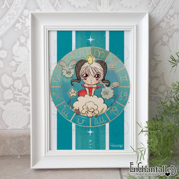 art print, kunst, ram, sterrenbeeld, zodiak, manga, chibi, turquoise, illustratie, anime, kawaii, schattig