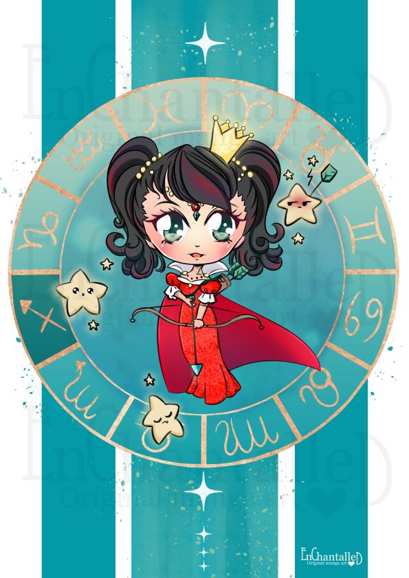 dierenriem, boogschutter, sagittarius, zodiak, Chibi, schattig, cute, manga, kawaii, art print, kunst, illustratie, EnChantalled