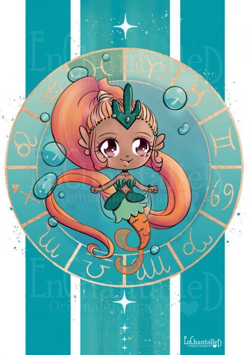 dierenriem, vissen, pisces, zodiak, Chibi, schattig, cute, manga, kawaii, art print, kunst, illustratie, EnChantalled