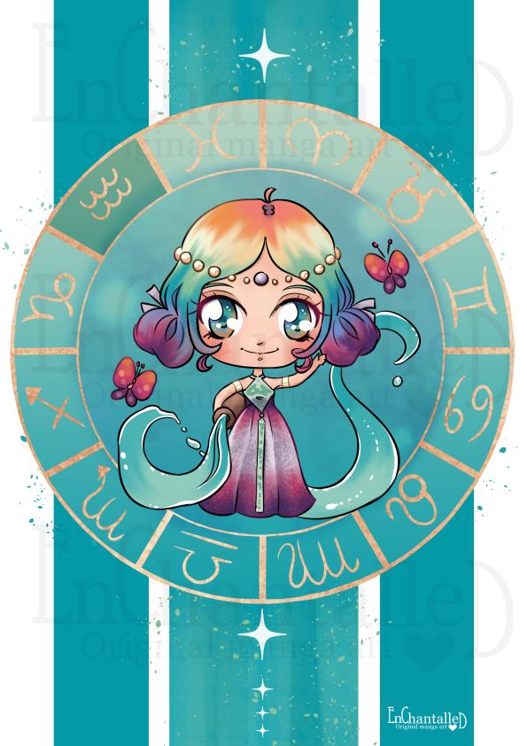 dierenriem, waterman, aquarius, zodiak, Chibi, schattig, cute, manga, kawaii, art print, kunst, illustratie, EnChantalled