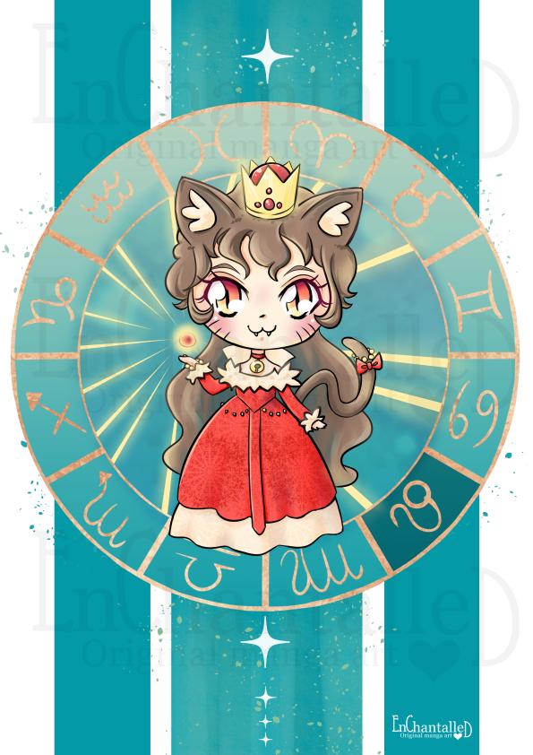 dierenriem, leeuw, leo, zodiak, Chibi, schattig, cute, manga, kawaii, art print, kunst, illustratie, EnChantalled