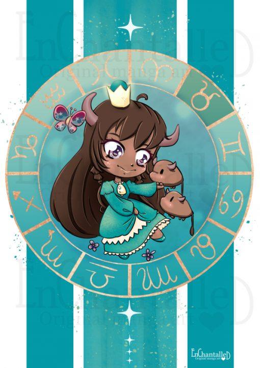 dierenriem, stier, taurus, zodiak, Chibi, schattig, cute, manga, kawaii, art print, kunst, illustratie, EnChantalled