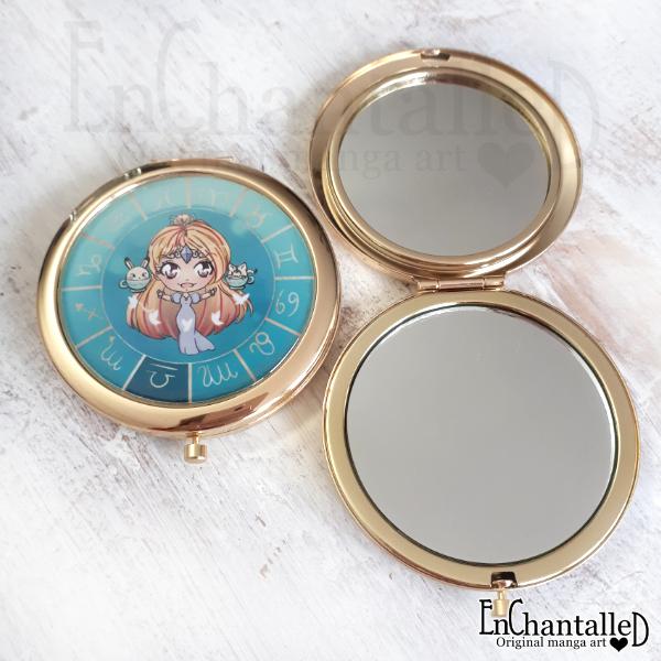 spiegel, zodiak, make-up spiegel, zakspiegeltje, compact spiegel, goud, sterrenbeeld, weegschaal, libra
