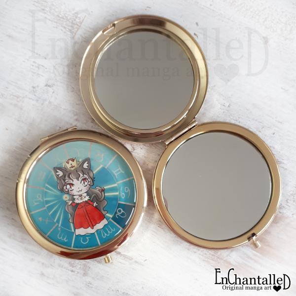spiegel, zodiak, make-up spiegel, zakspiegeltje, compact spiegel, goud, sterrenbeeld, leeuw, leo