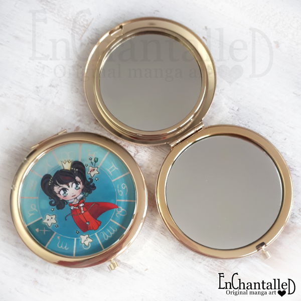 spiegel, zodiak, make-up spiegel, zakspiegeltje, compact spiegel, goud, sterrenbeeld, boogschutter, sagittarius