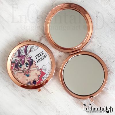 spiegel, spiegeltje, goud, roze, konijntje, chibi, zakspiegeltje, manga, make-up spiegel, kawaii
