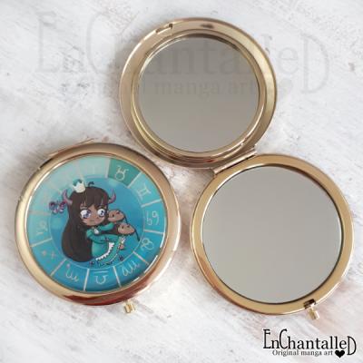 spiegel, zodiak, make-up spiegel, zakspiegeltje, compact spiegel, goud, sterrenbeeld, srier, taurus