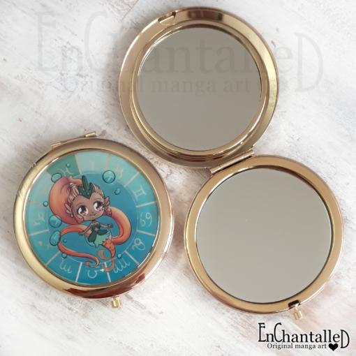 spiegel, zodiak, make-up spiegel, zakspiegeltje, compact spiegel, goud, sterrenbeeld, vissen, pisces