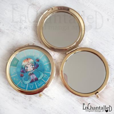 spiegel, zodiak, make-up spiegel, zakspiegeltje, compact spiegel, goud, sterrenbeeld, waterman, aquarius