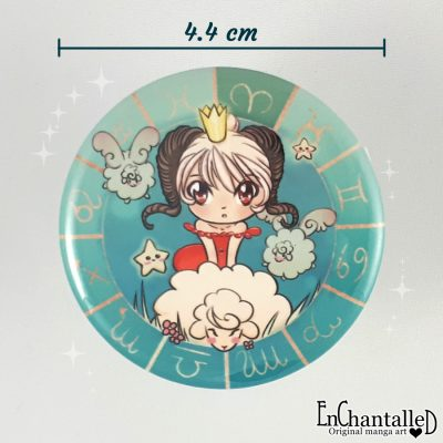 Button chibi zodiak ram dierenriem buttons
