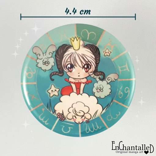 Button chibi zodiak ram dierenriem buttons