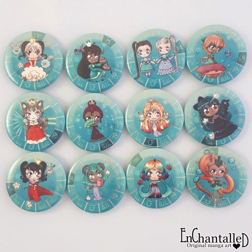 buttons dierenriem chibi schattig zodiak