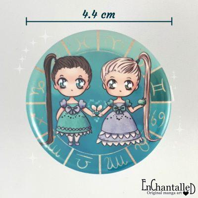 Button chibi zodiak tweeling gemini sterrenbeeld