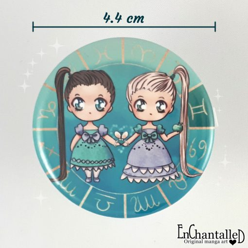 Button chibi zodiak tweeling gemini sterrenbeeld