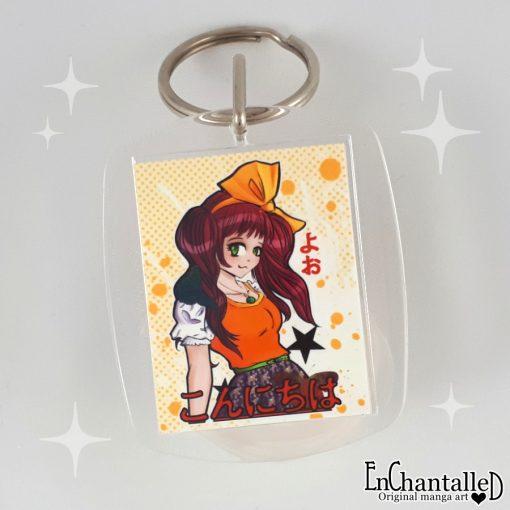 sleutelhanger konnichiwa manga meisje
