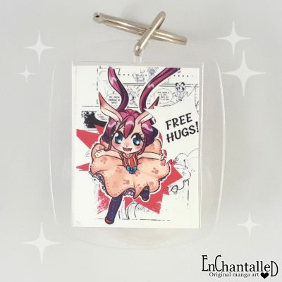 sleutelhanger free hugs wit schattig chibi konijntje