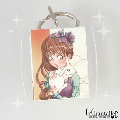 Sleutelhanger my bunny manga meisje met konijn