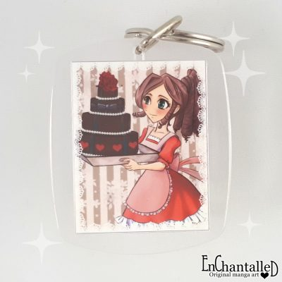 sleutelhanger taart manga meisje chocolade keek