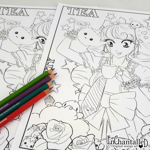 manga kleurplaat tea party papier digitaal anime kawaii kleuren