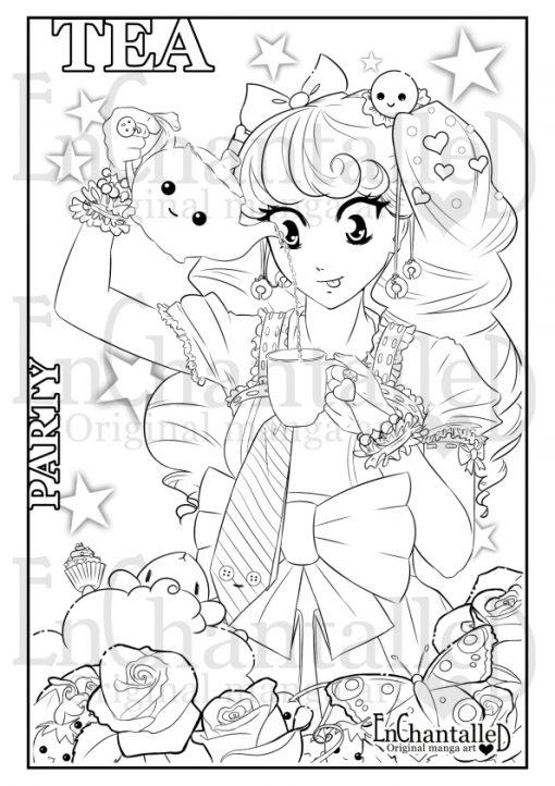 kawaii kleurplaat manga anime kleurplaten enchantalled tea party