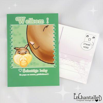 geboortekaartje ansichtkaart kawaii konijn