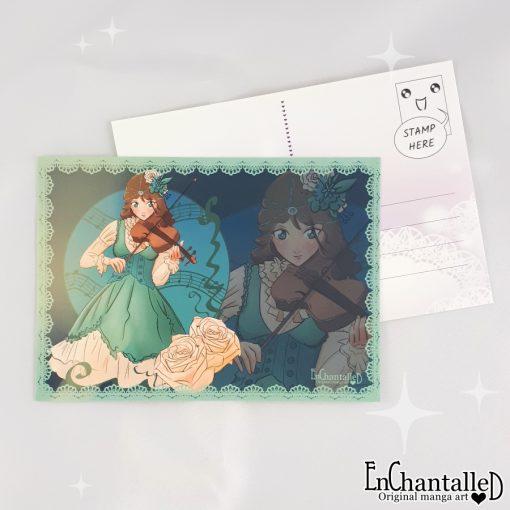 ansichtkaart_anime_manga_viool_violist