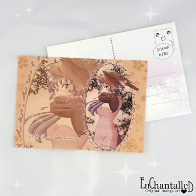 anime ansichtkaart jachtvogel roofvogel avontuur manga meisje