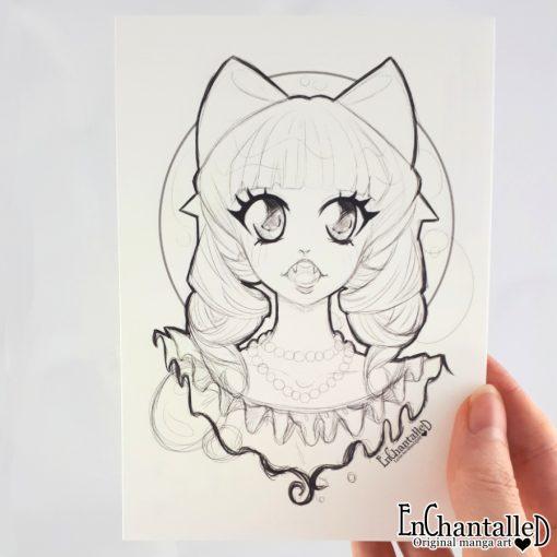 manga ansichtkaart vampier lena